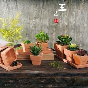 ¡Envío gratis! Macetas de jardinería carnosas, pequeña maceta especial personalizada de cerámica, maceta de cerámica cuadrada, macetas de terra-cotta