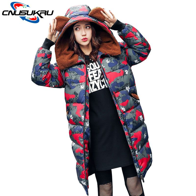 winter jacket women Long coat Military Camouflage overcoat  thick hooded down cotton print outwear Female Large size Loose parka thick hooded down jacket women slim print long winter coat camouflage y160