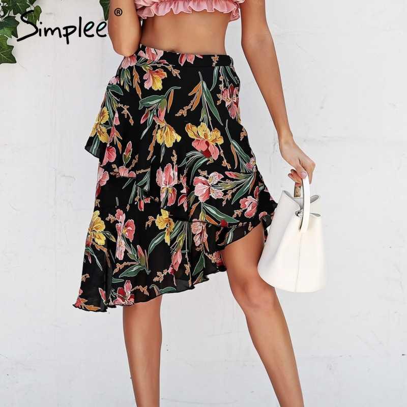 b0a23c66a65 Simplee Boho рюшами юбка с цветочным принтом женские Нерегулярные шифоновая  юбка с высокой талией 2018 летние