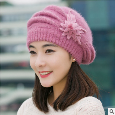 Female Flowers Korean Winter Hat Rabbit Feather Hat Beret Thickened Knitted  Wool Hat Cap Mother Autumn and Winter Warm Hats 1265c34f201