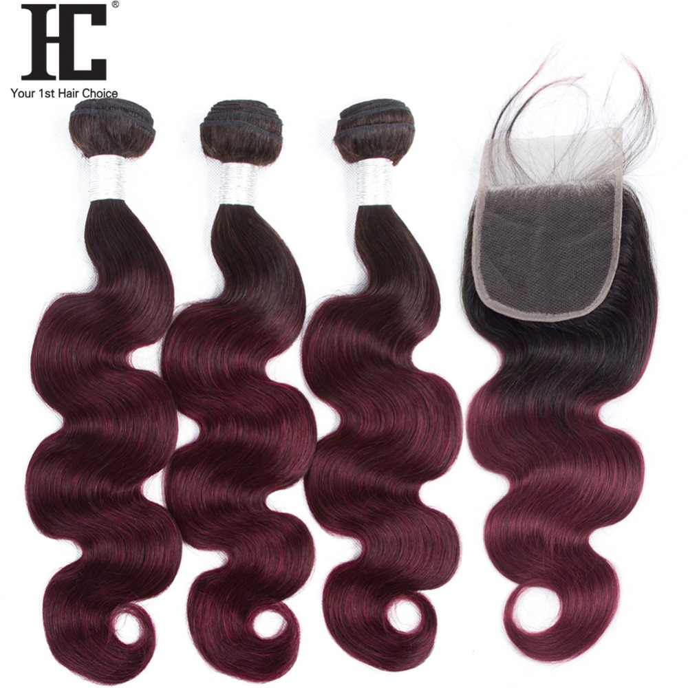 Ombre Hair 3 Bundles With Closure 1B/99J Dark Wine Red 100% Human Hair Non Remy Ombre Brazilian Body Wave With Lace Closure HC