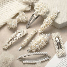 Pearl Hair Clip Women Girls Gift Snap Barrette Sweet Hairgrip Stick Hairpin Hair Accessories ubuhle fashion women full pearl hair clip girls hair barrette hairpin hair elegant design sweet hair jewelry accessories 2019