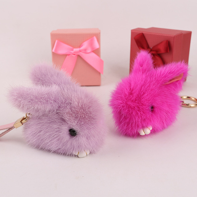 Cute Rabbit Small Bunny Kids Toy Bag Charm Real Mink Fur Bag Bug Monster Bag Bugs Charm Pompom Keychain Leather Pendant F108