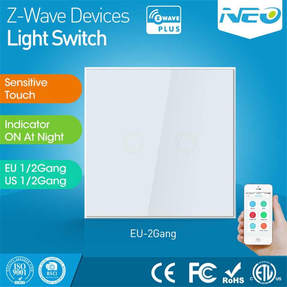 NEO Coolcam Home Automation Z-Wave Plus 2CH EU Light Switch Wall Touch Switch Compatible with Z-wave 300 series and 500 series neo coolcam smart home z wave plus 1ch eu light switch compatible with z wave 300 series and 500 series home automation