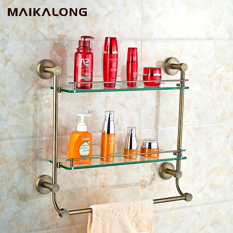 NO.9514 antique bronze finish ,single glass shelf with towel bar-in ...