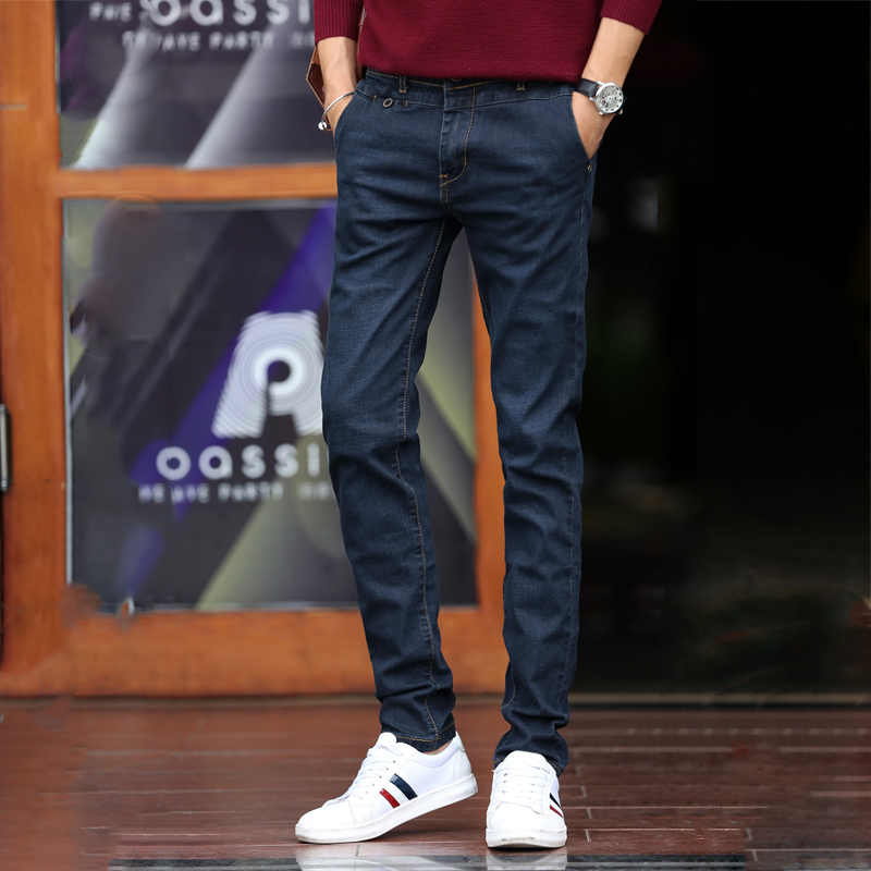 ФОТО Fashion Jeans Men Solid Slim Fit Blue Pencil Straight Denim Pants Full Length Male Trousers 2016 Casual Man Clothes AMP165015
