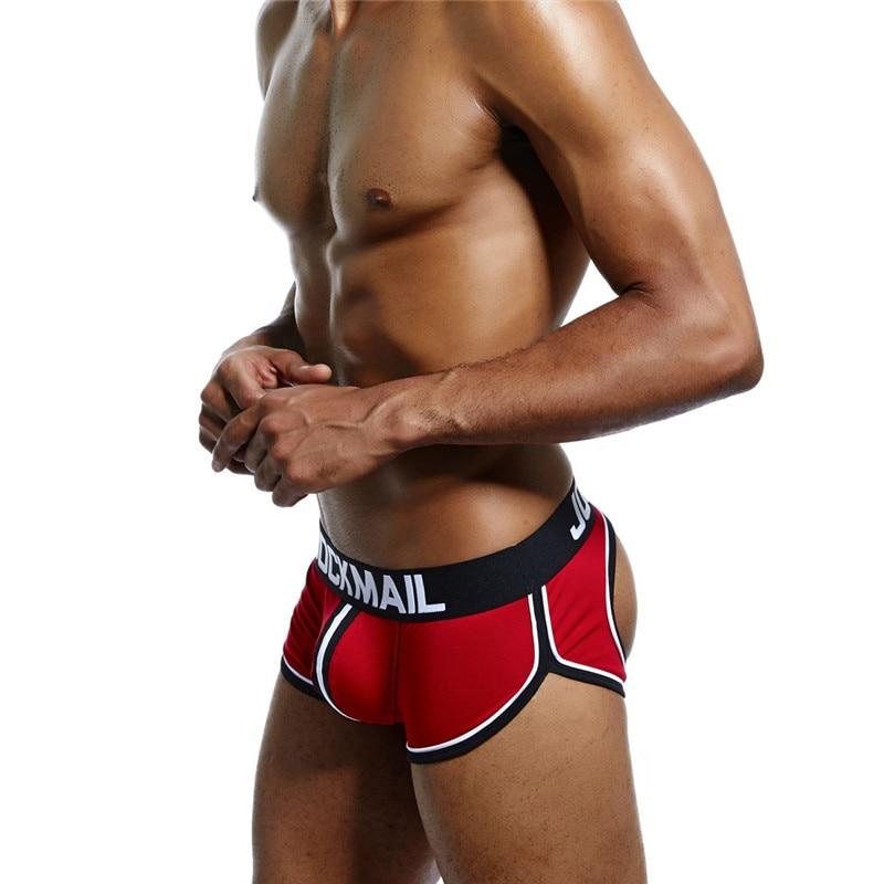 Boxers Men's Underwear The Best Jockmail Sexy Men Underwear Boxer Men Back Open Hole Men Boxer Underpants Cotton Trunks Boxer Shorts Male Panties Gay Underwear