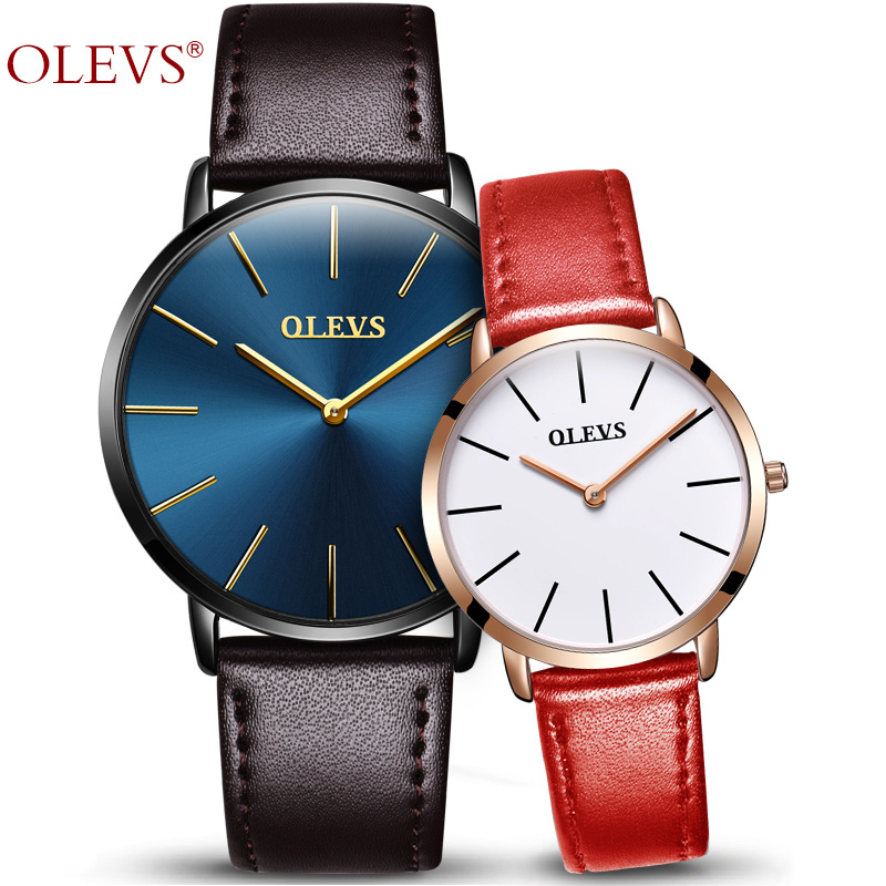 OLEVS Romantic Lovers Wristwatch Leather Strap Top Brand Quartz Ladies Watch Ultrathin Dial Male Clock Men Business Watches 5868 romantic girls lovely clay rabbit watches original quartz leather strap wristwatch factory price korean mini brand clock nw840