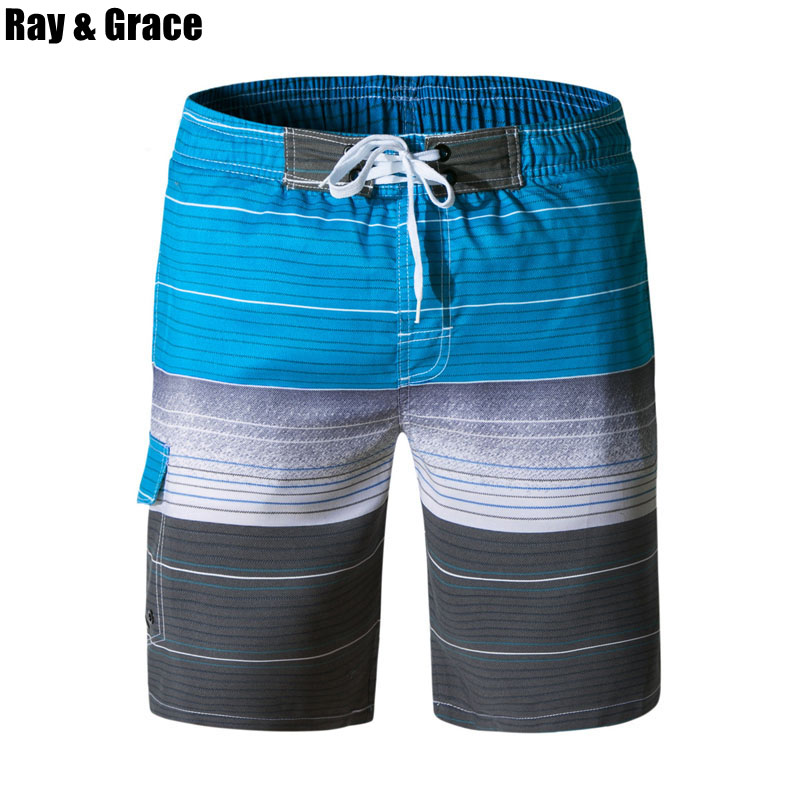 RAY GRACE Summer Beach   Shorts   Men Quick Dry   Board     Shorts   Running   Shorts   Surfing Printed Trunks Bathing Suits Sports Beachwear