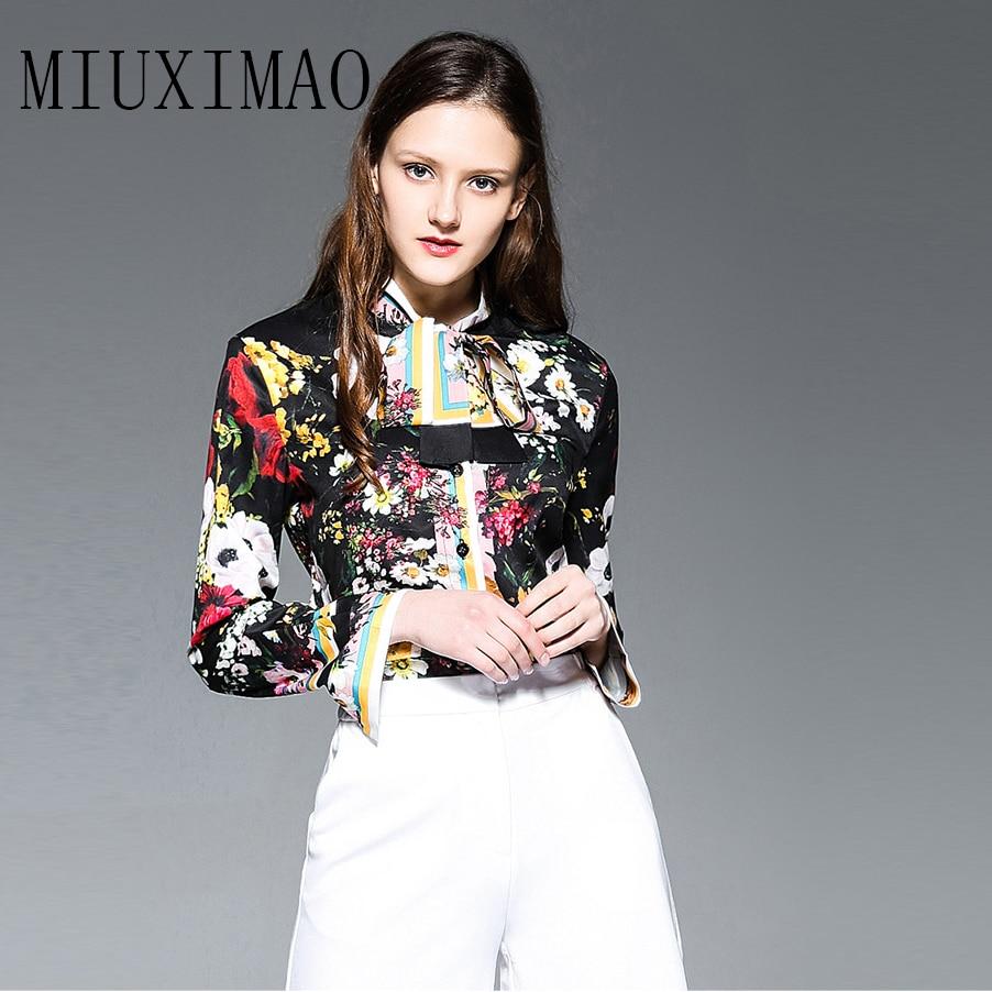 Et Mode Plein Arc Imprimer Élégant Floral Haute Chemise De Printemps Femmes Nouvelle 2018 Blouse Manches Motif Arrivée Qualité D'été 51qRnY