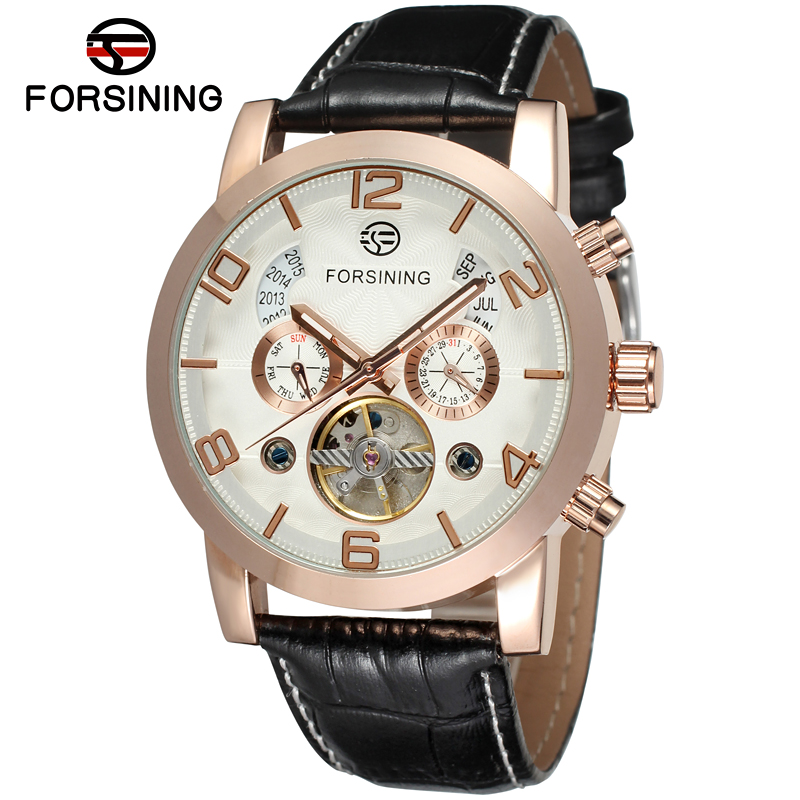 Forsining Automatic Wristwatch Tourbillon Skeleton Mechanical Watches Men Fashion Genuine Leather Band Self-wind Movement Clock forsining latest design men s tourbillon automatic self wind black genuine leather strap classic wristwatch fs057m3g4 gift box