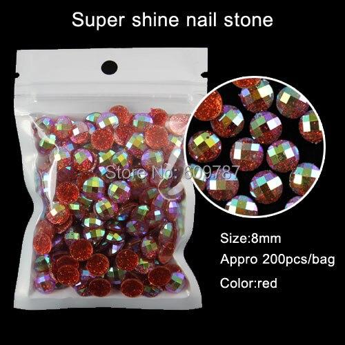 200pcs/lot round shape red gold silver purple fashion nail art glitter stone