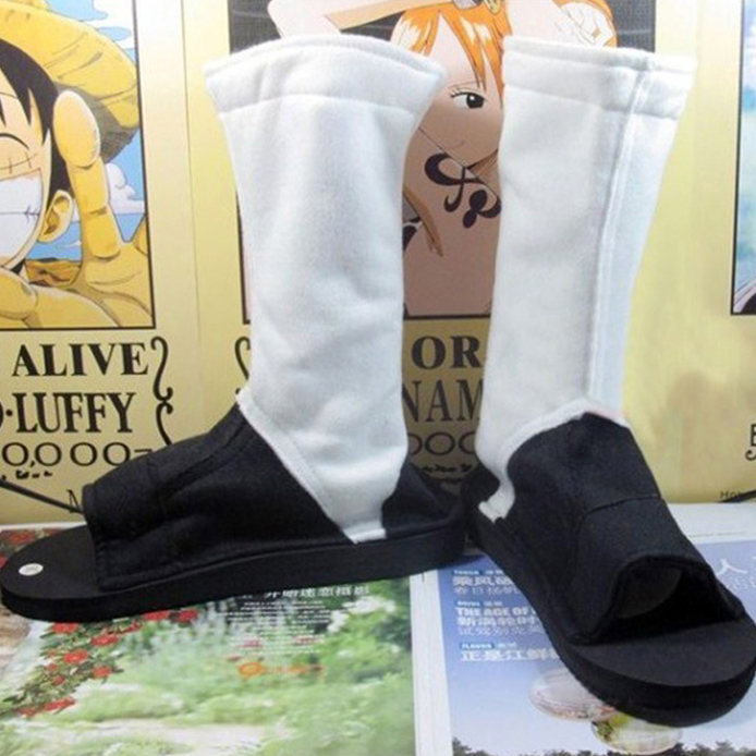 10 Sizes Anime Naruto Cosplay Akatsuki Shoes White+Black Ninja Boots Kakashi Shoes Costume Accessories for Halloween Party