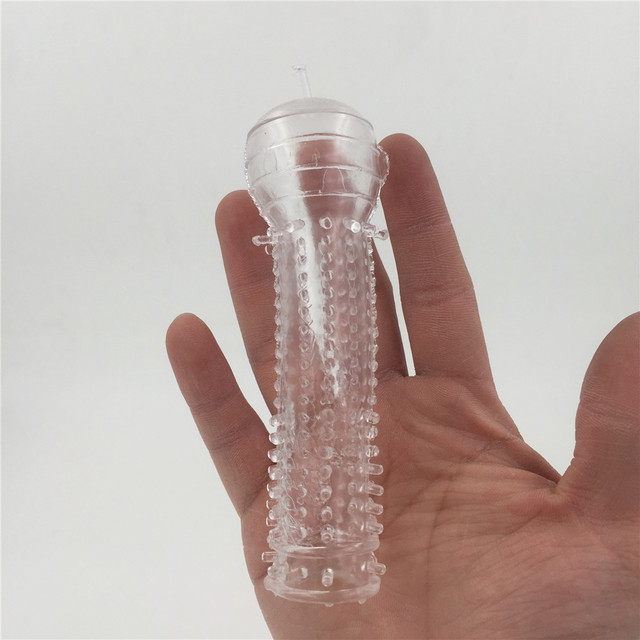 Zcz Silicone Clear Reusable Full Cover Penis Sleeve Ring Delay Impotence Erection Condoms For Sex Adult Men Wq1567