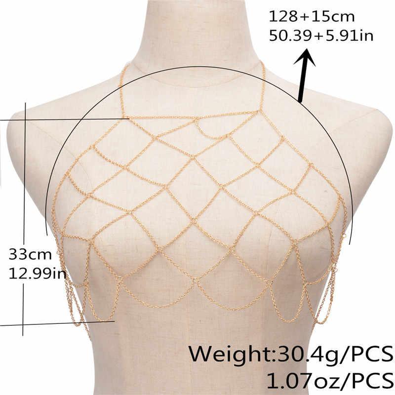 2019 טרנדי ביקיני גוף שרשרת בוהמי קיץ תכשיטי סקסי שד חזיית שרשרת נשים אביזרי מתנה גוף שרשרות