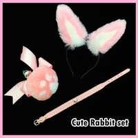 3pcs Sweet Sexy Bunny Ears Headband Mental Plush Ball Rabbit Tail Anal Plug Stainless Steel with Heart Choker Erotic costumes