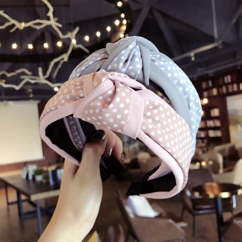 Haimeikang Polka Dot Hand Made Krawatte Knoten Haar Zubehör Für Mädchen Haar Bögen Garn Weben Haar Band Bunte Stirnbänder Für Frauen