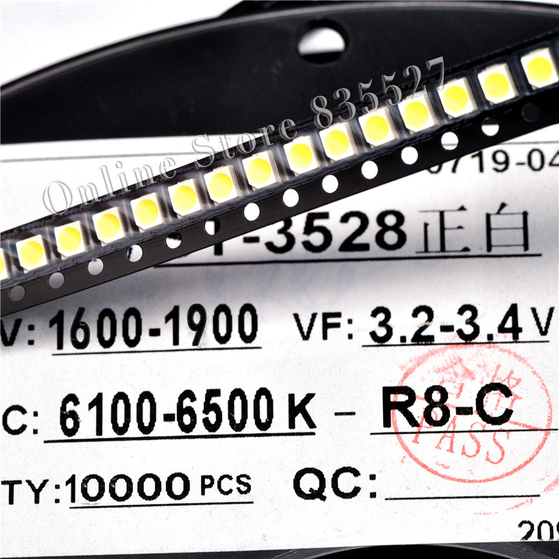 200PCS/LOT 1210 White 3528 SMD LED Bright White Light-emitting Diodes 1600-1900mcd