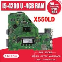 Laptop Motherboard Para ASUS A550L X550LD R510L Y581L K550L X550L X550LD X550LN X550LC i5-4200U 4GB RAM GT820M 8 * Memória Mainboard