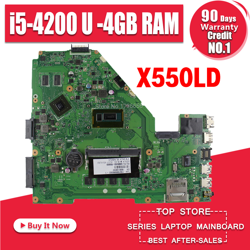 X550LD Laptop Motherboard For ASUS A550L R510L Y581L K550L X550L X550LD X550LN X550LC Mainboard I5-4200U 4GB RAM GT820M 8*Memory