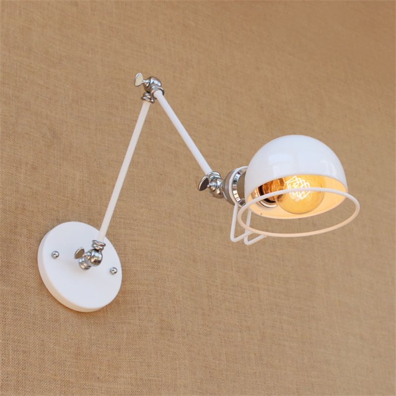 купить Vintage industrial style loft creative minimalist long arm wall lamp adjustable Handle Metal Rustic Light Sconce Fixtures white по цене 2592.18 рублей