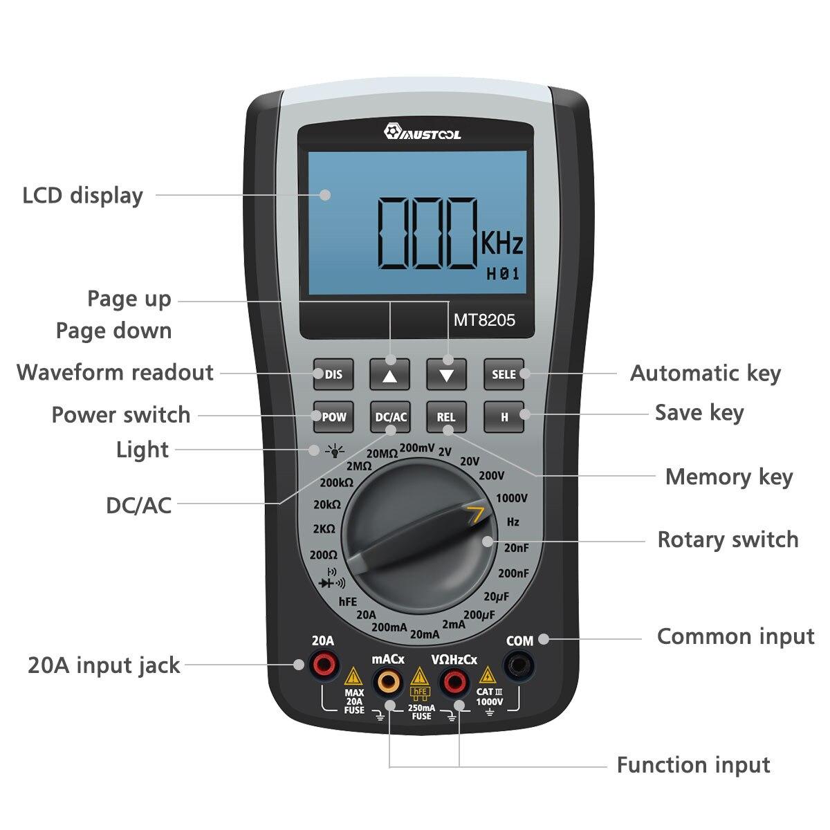 Mutabouret MT8205 2 en 1 numérique Intelligent portable stockage Oscilloscope multimètre courant tension résistance fréquence testeur - 2