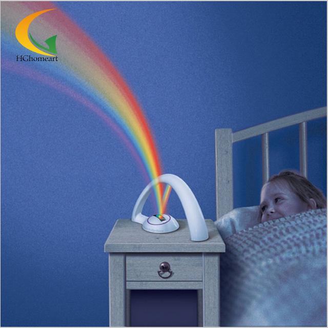 Superior Romántica Del Arco Iris LED Proyector Noche Color de La Lámpara de La CA 6 V mini proyector habitación del bebé luz de luna luz de noche para niños