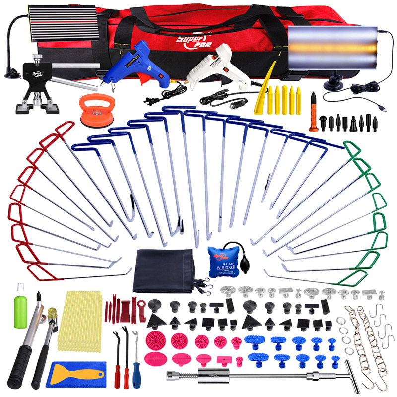 PDR outils de réparation de Dent sans peinture crochets de tige de poussée kit d'outils de pied de biche lumière LED panneau de réflecteur extracteur de colle PDR kit d'outils de retrait de Dent