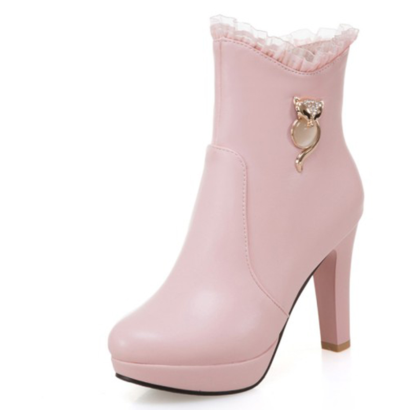 Mince Zipper Rond Talons Pour white Bout Plate Super Enmayer pink Sexy forme Cl018 Dames Hiver Hauts Chaussures Bottines Black Femme wIR0xvO