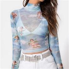 New Fashion Women See-through Sheer Mesh Fishnet Shirt Tops