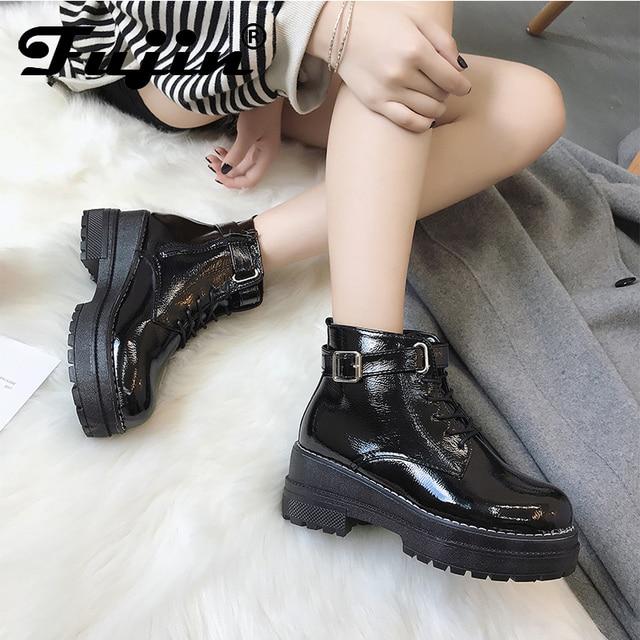 aeee1d62 US $35.9 |FUJIN marki kobiet buty jesień zima śnieg buty Pu skóra utrzymać  ciepłe wygodne buty Blcak kolor damskie buty w FUJIN marki kobiet buty ...