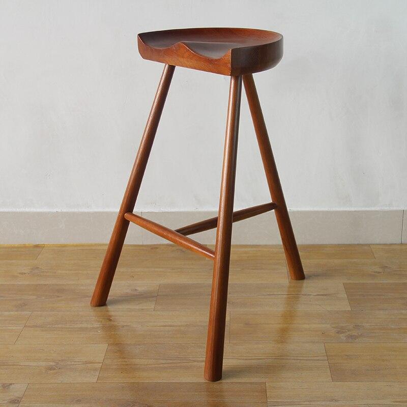 white oak wood saddle bar stool