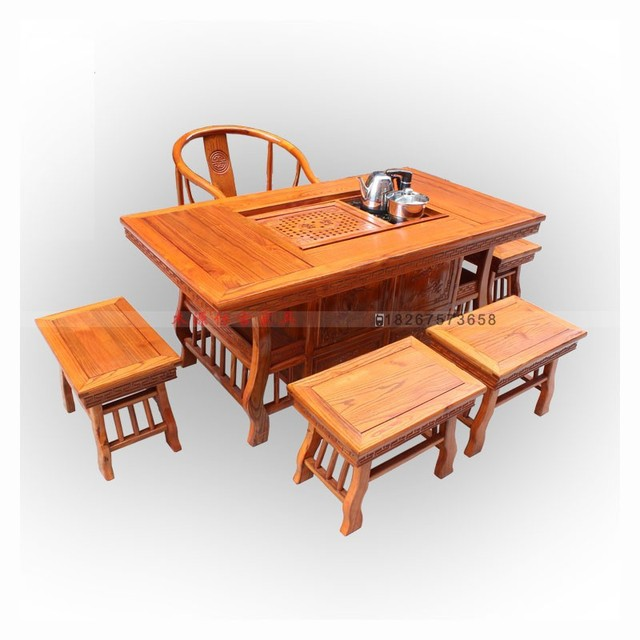 Special Tea Tables And Chairs Combination Of Solid Wood Antique Furniture  Chinese Elm Tea Taiwan Kung