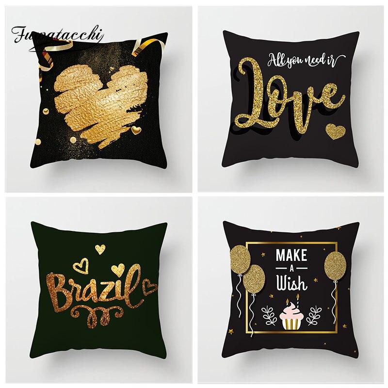 Fuwatacchi valentin housse de coussin bronzant amour lettre imprimé taie d'oreiller coeur taie d'oreiller pour cadeau décor maison canapé