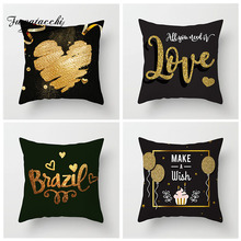 Fuwatacchi Valentines Day Cushion Cover Bronzing Love Letter Printed Pillow Heart Pillowcase for Gift Decor Home Sofa