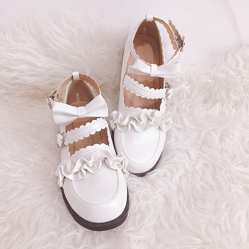 Daily Japanese Style Sweet <font><b>Lolita</b></font> Girl Bow Ruffle <font><b>Shoes</b></font> Women Students <font><b>Lolita</b></font> <font><b>Shoes</b></font> Round Head JK Uniform PU Leather Flat <font><b>Shoes</b></font> image