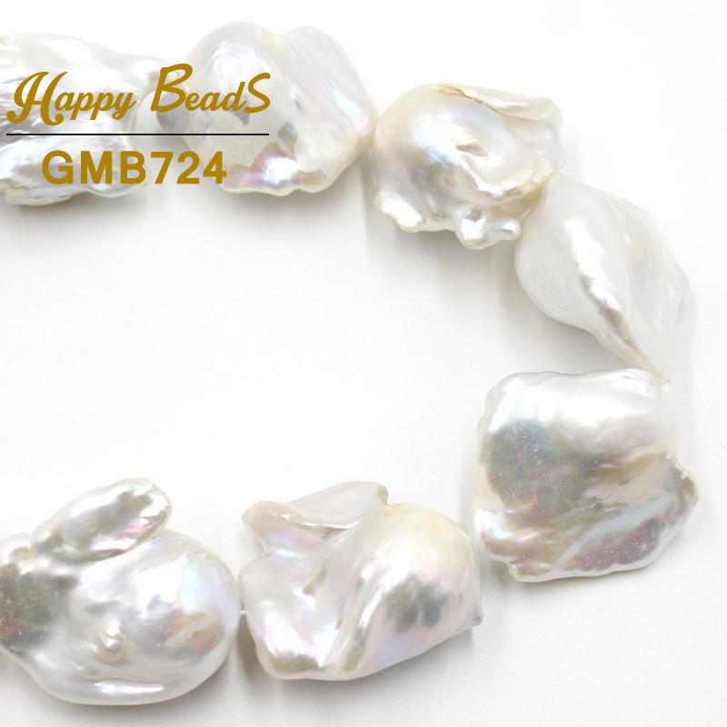 """AAA+ 14 28mm Natural White Baroque Pearl Freshwater Irregular Loose Beads For Jewelry Making DIY Bracelets Necklace 15""""Strand-in Beads from Jewelry & Accessories    1"""