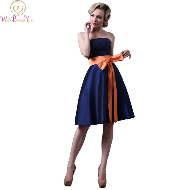 Walk Beside You Real Picture Navy Blue Bridesmaid Dresses With Orange Belt Strapless Taffeta Wedding Party