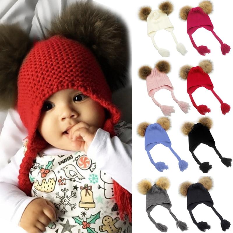 81e5d41c1ee Baby Kids Warm Winter Hat Knitted Cap Double Faux Fur Pom Pom Hats Children  Beanies Boys Girls Two Fur Pompom Caps Bonnet 2018
