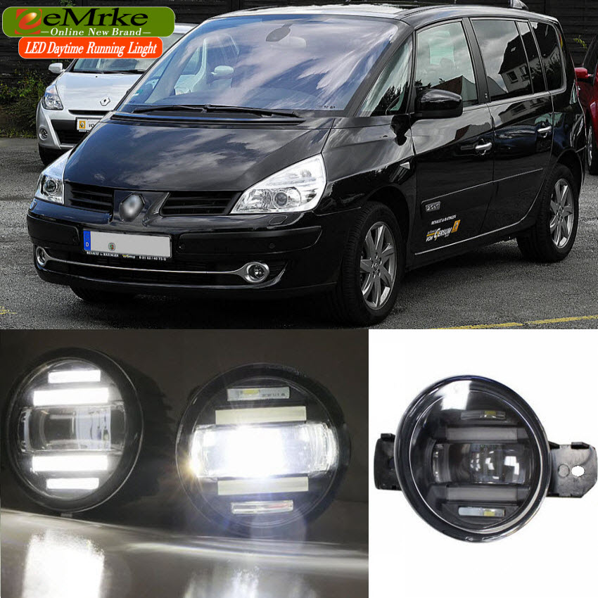 eeMrke Xenon White High Power 2in1 LED DRL Projector Fog Lamp With Lens For Renault Espace 4 IV 2002-2014 цена