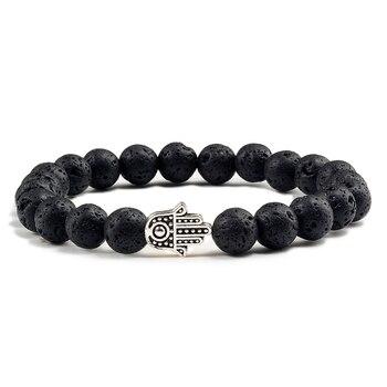 Charms Men Black Lava Matte Beads Natural Volcanic Stone Bracelets Bangles Women Yoga Prayer Jewelry Gold Sliver Hand Bracelet