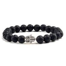 PULSERAS CON ABALORIOS de Lava negra para hombre y mujer, brazaletes con piedras naturales volcánicas, joyería de oración de Yoga, pulsera de mano de oro