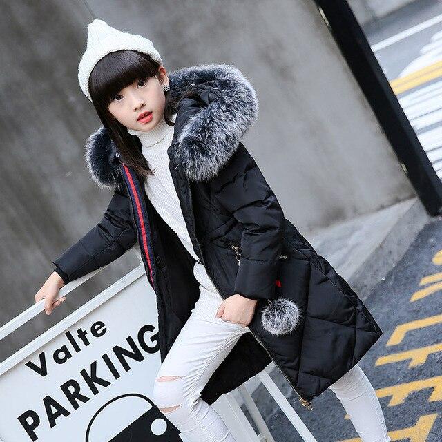 Новый Зимние парки для девочек Детские Пуховые куртки Длинные теплые для больших девочек плотное пальто Детская верхняя одежда белая утка Пух куртка для девочки TZ215
