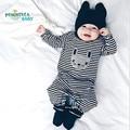 Mamelucos Del Bebé Ropa de recién nacido Primavera Oso de Dibujos Animados de Algodón Bebé Mono de Trajes de Manga Larga de La Muchacha de Los Mamelucos Del Bebé Del Mameluco
