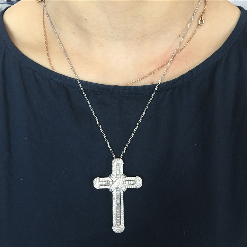 Vecalon High Quality Long Cross Pendant 925 Sterling Silver Cz Stone Wedding Cross Pendant Necklace For Women Men Party Jewelry