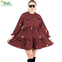 KULAZOPPER Lace nine point sleeves chiffon female dress 2018 Spring New plus size women's printed pleated doll dress YL080