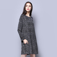100 Silk Crepe Dress Dark Grey Printed Pure Silk Fabric Spring Style Women Dresses