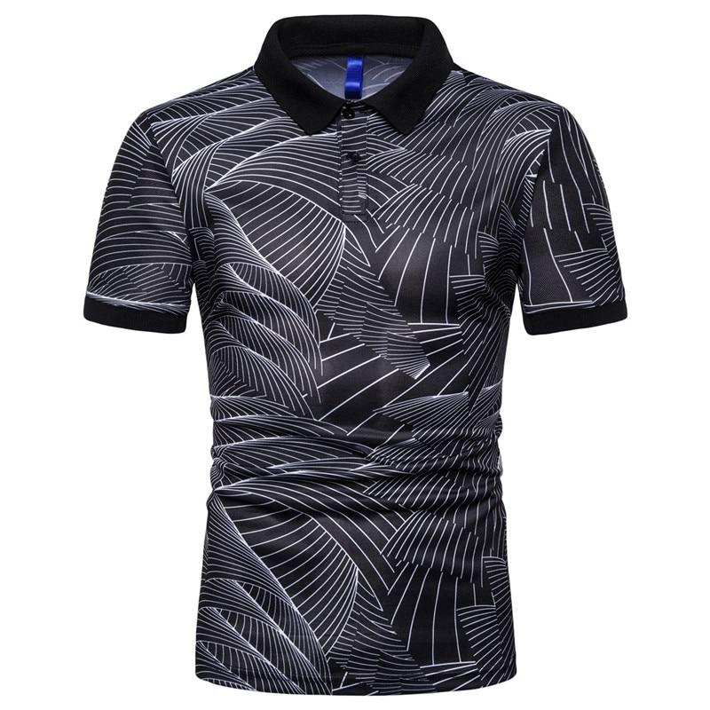 NEGIZBER 2019 New Men's Polo Shirt Fashion Casual Print Polo Shirt Short Sleeve Lapel Men's Polo Shirt