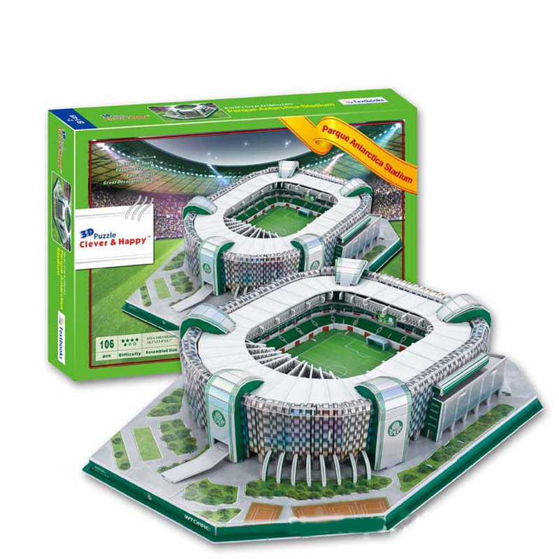 Candice guo 3D puzzle DIY toy paper building model Brazil parque antarctica football Stadium assemble game kid birthday gift set ds381b wooden 3d army puzzle toy model anti air vehicles diy assemble toys boys free shipping usa brazil