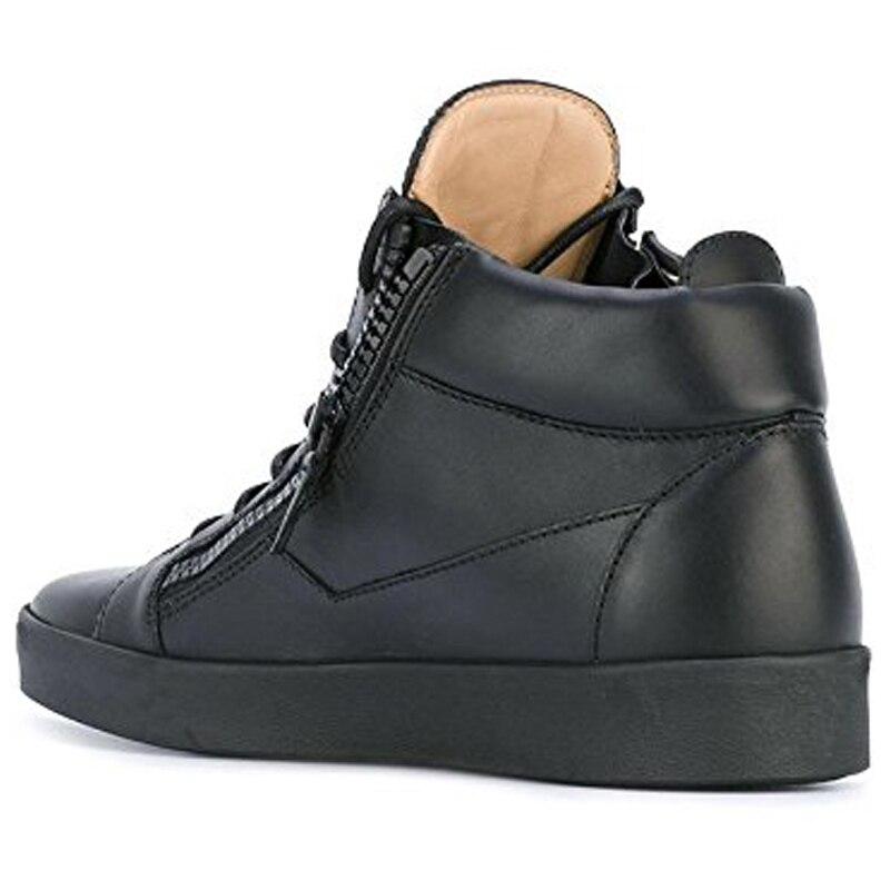 Noir Rond Bout Chaussures Top Black Sneakers Femmes Femme Plat À Cheville De Lacets Cuir Loisirs Nancyjayjii Verni En High Zip nYWYx5Z4A